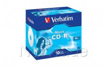 Verbatim cd-r audio 80 min color 10st    for music - 43365