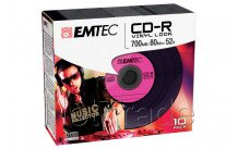 Emtec cd-r 700mb 52x vinyl look slim case 10st/pcs - ECOC801052SLVY