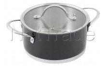 Crealys - Kookpot in roestvrij staal twist diam 24 cm - 5,5 liter zwart - 506956