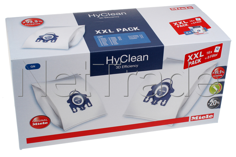 Miele Vacuum Cleaner Bags Xxl Pack Hyclean 3d Gn